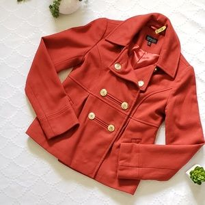 Topshop Red Double Breasted Wool Coat